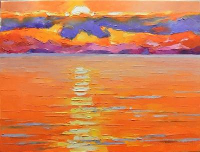 Картина морской пейзаж «Закат» купить живопись для современных интерьеров Украина