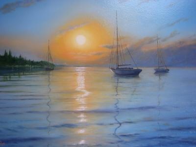Картина маслом море «Закат на море» живопись для современных интерьеров