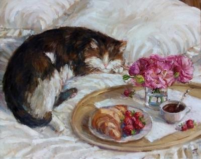 Картина маслом натюрморт «Завтрак с котом» купить живопись Киев