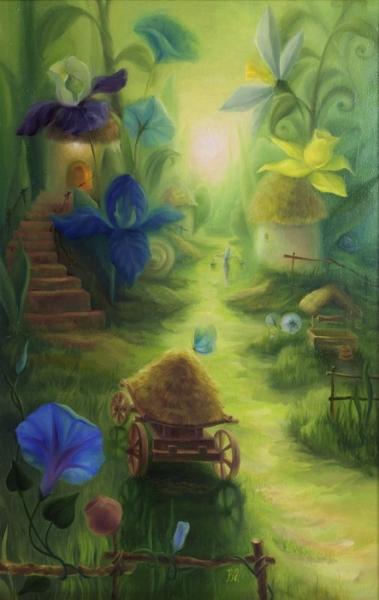 Картина сказочный пейзаж «Зеленый рассвет» купить живопись для детской комнаты Киев