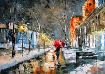Картина маслом киевский пейзаж «Зимний Крещатик» купить живопись для современных интерьеров Украина