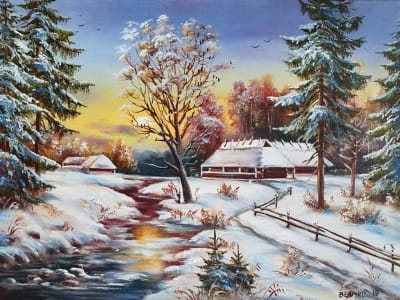 Картина маслом зимний пейзаж «Зимний пейзаж» купить картину Киев