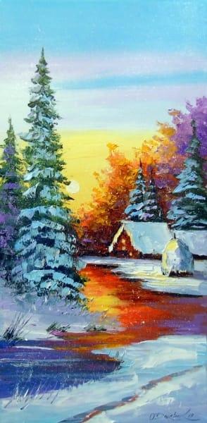 Картина маслом зимний пейзаж «Зимний закат» купить живопись для современных интерьеров Украина