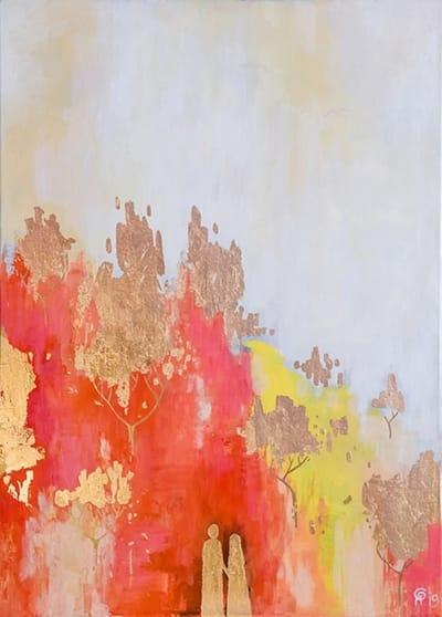 Картина абстракция «Золотая осень» купить картину маслом Киев