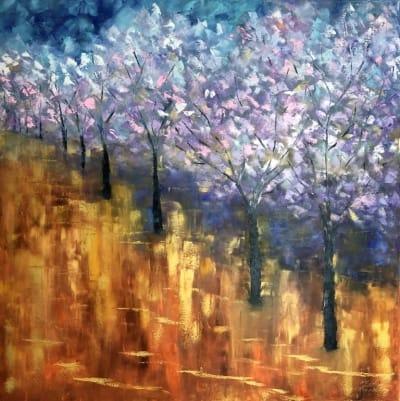 Картина маслом абстракция «Золотая жара» купить живопись для современных интерьеров Украина