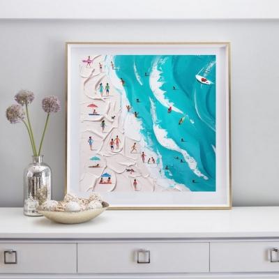 Картина маслом морской пейзаж «Бирюзовый пляж» купить живопись для современных интерьеров Киев