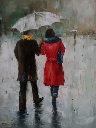 Картина маслом «Зонт на двоих» - живопись для современных интерьеров Украина