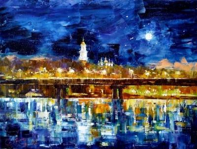 Картина маслом киевский пейзаж «Звездный вечер над Киевом» купить живопись для современных интерьеров Украина