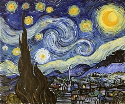 Картина маслом пейзаж «Звездная ночь» (копия Ван Гога) купить картину для современных интерьеров Украина