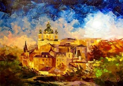Картина маслом пейзаж «Звездное небо» купить живопись для современных интерьеров Украина