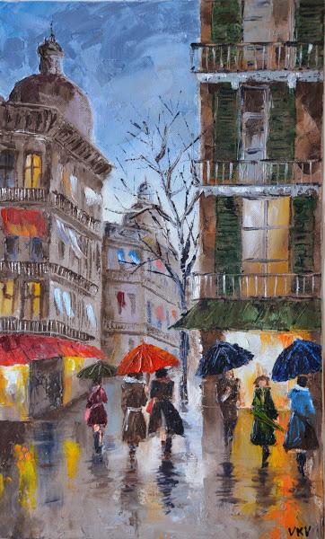 Картина «Дождливый день»  Дождливый Город Картина